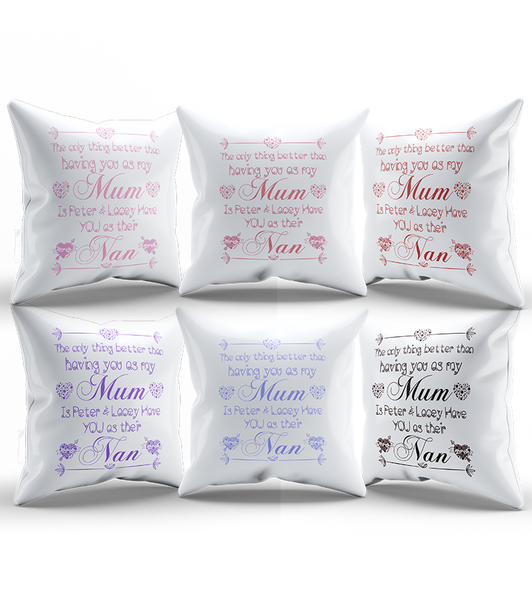 Personalised White Silk Cushion Covers