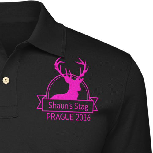 Buy Printed Stag Party Tee. Stag Head With Circular Background and Lable Across The Fron For Editing.