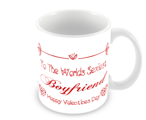 Worlds Sexiest BoyFriend Valentines Coffee Mug With Red Printed Text